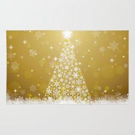 Gold Snowflakes Sparkling Christmas Tree Rug