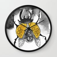 beetle Wall Clocks featuring Beetle by Dnzsea