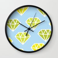 diamonds Wall Clocks featuring Diamonds by evannave
