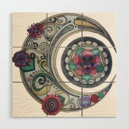 Spiral floral moon Wood Wall Art