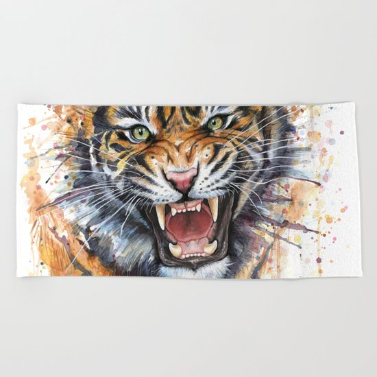 Tiger Roaring Wild Jungle Animal Beach Towel