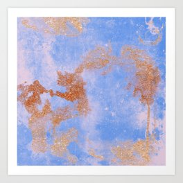 Glitter bursts onto blue Art Print