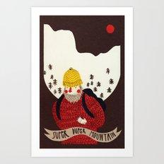 Super duper mountain Art Print