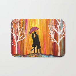 Romance in the Rain I romantic gift art Bath Mat