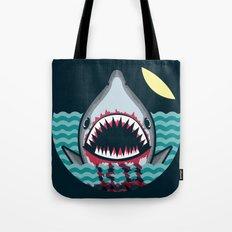Dark night at the sea - wild shark appear Tote Bag