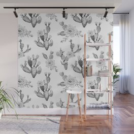 Cactus Rose Garden Black and White Wall Mural