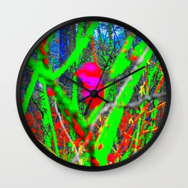 Abstract Winter Berries Wall Clock