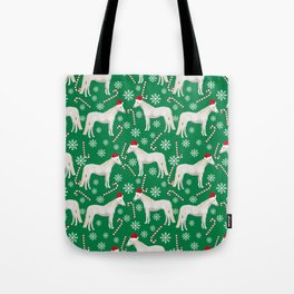 Horse Christmas - christmas, xmas, peppermint candy cane, red and green, snowflake Tote Bag