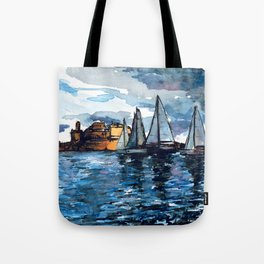 Yacht Sailing Middle Sea Race in Malta Grand Harbour - start of the regatta Tote Bag