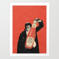 vegetarian Art Prints featuring Vegetarian Vampire by Karolis Butenas