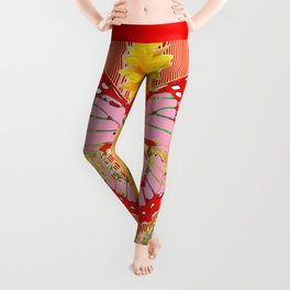 ABSTRACT  RED BUTTERFLY  SUNFLOWER FLORAL GARDEN Leggings