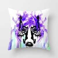 her art Throw Pillows featuring Her by Aaron Galaxy