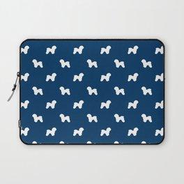 Bichon Frise dog pattern navy and white minimal pet patterns dog breeds silhouette Laptop Sleeve