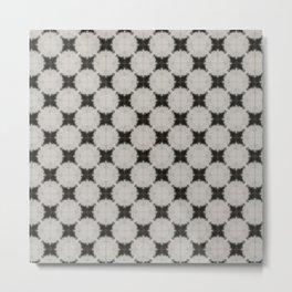 Grey White Star Circle Patterns Metal Print