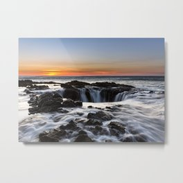 Thor's Well Sunset at Cape Perpetua, Oregon Metal Print
