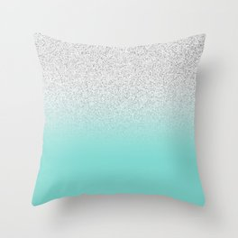 Modern Girly Faux Silver Glitter Ombre Teal Ocean Color Block Throw Pillow