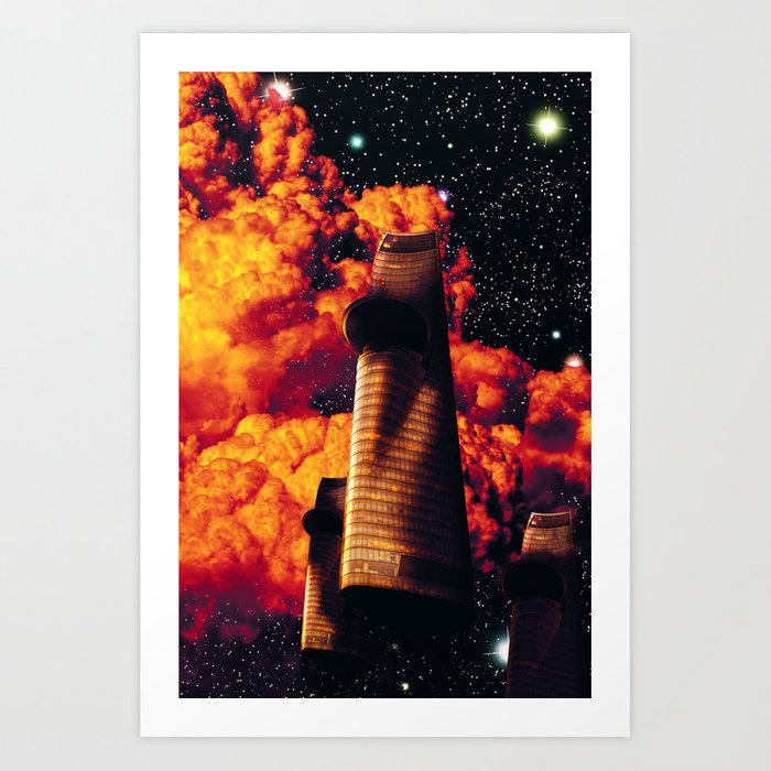 Spaceship Space Travel Dreamscape Art Print