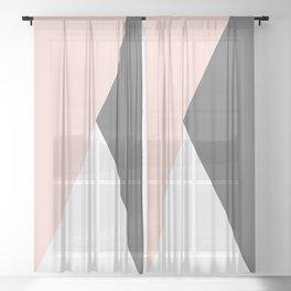 Elegant blush pink & grey geometric triangles Sheer Curtain