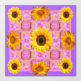 Lilac pink Patterns Sunflower Floral Art Canvas Print