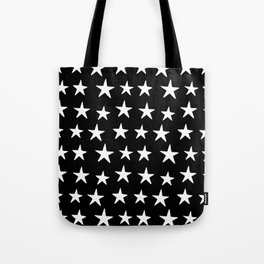 Star Pattern White On Black Tote Bag