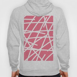 Abstract Criss Cross White Strokes on Pink Background Hoody