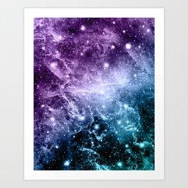 Purple Teal Galaxy Nebula Dream #4 #decor #art #society6 Art Print