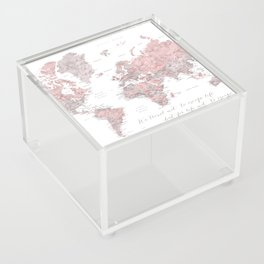 We travel not to escape life, dusty pink and grey watercolor world map Acrylic Box