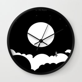 To The Moon - bnw (instagram) Wall Clock