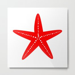 Starfish (Red & White) Metal Print