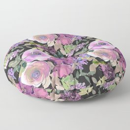 Watercolor Pink And Lilac Floral Pattern On Chic Black Floor Pillow