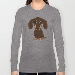 Chocolate Dachshund   Cute Cartoon Wiener Dog Long Sleeve T-shirt