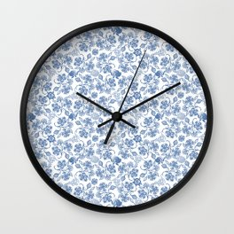 Pretty Indigo Blue and White Ethnic Floral Print Wall Clock