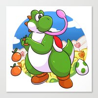 yoshi Canvas Prints featuring Yoshi! by DoberJam
