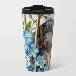 Dachshund and Forget-Me-Nots Travel Mug