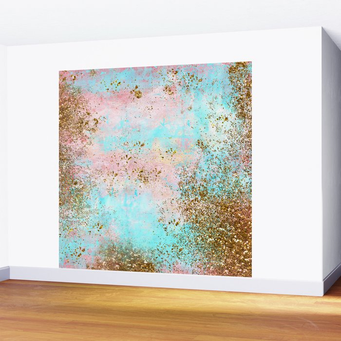 Pink and Gold Mermaid Sea Foam Glitter Wall Mural