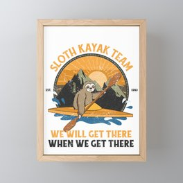 Sloth Kayaking, Sloth Kayak Team Framed Mini Art Print