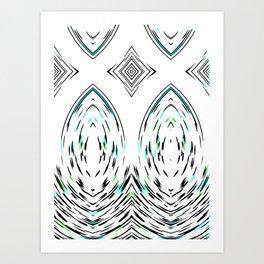 Folk Art Stylised Mirror Modern Geometric Pattern Art Print