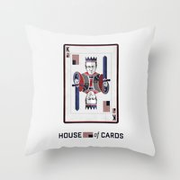 house of cards Throw Pillows featuring House of cards Playing card  by Lewys Williams