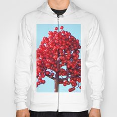 Rowan Berry Branch Top is Red on  Blue Nature Hoody