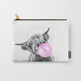 Bubble Gum Highland Cow Black and White Carry-All Pouch