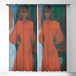 Edvard Munch - Red and White Blackout Curtain