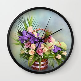 Bouquet with colorful flowers in basket Wall Clock
