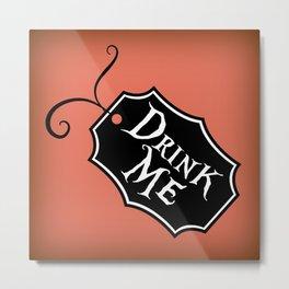 """""""Drink Me"""" Alice in Wonderland styled Bottle Tag Design in 'Mad Hatter Melon' Metal Print"""