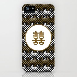 Double Happiness Symbol on Endless Knot pattern iPhone Case