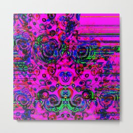 Hottest Pink with Neon Green Metal Print