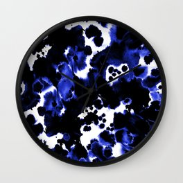 Watercolor indigo india ink boho girly trendy abstract painting brushstrokes dorm college painterly Wall Clock