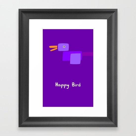 Happy Bird-Purple Framed Art Print