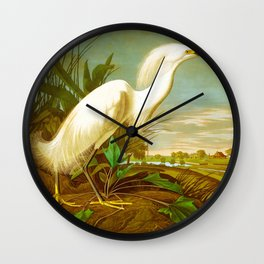 Snowy Heron, or White Egret Wall Clock