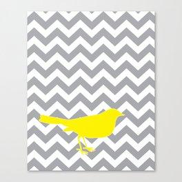 Yellow Bird on Gray Chevron Canvas Print