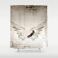 angel wings Shower Curtains featuring angel wings by Mariedesignz